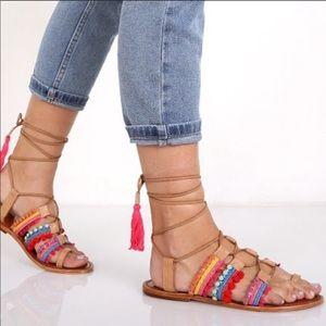 Schutz Patricia Lace Up Gladiator Sandals 6